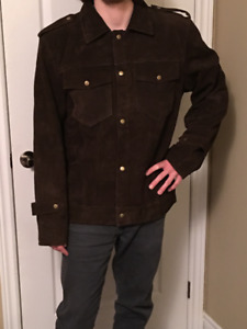 Mens XL-John Lennon Rubber Soul Brown Suede Leather Jacket