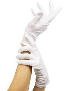 Mens Ladies White Short Gloves Captain Clown Magician Santa Fancy Dress