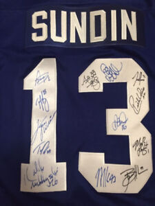 Leaf Jersey signed by Gilmour, Tucker, Vaive, Kadri etc.