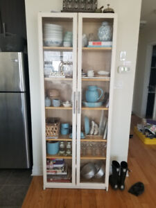 "White Kitchen Cabinet - 5 Shelves with Glass doors (80"" height)"