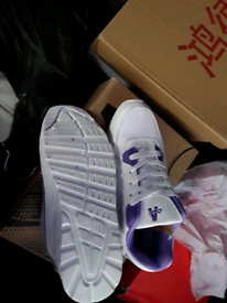 Brand new size 4 white and purple ladies trainers,,leather uppers