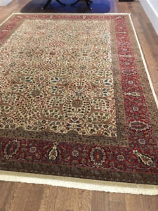 Hand Knotted Silk and Wool Area Rug