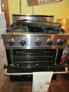 ANTIQUE BUFFET/SIDEBOARD- VIKING GAS STOVE