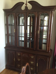 Hutch and Buffet Dark Wood Cabinet