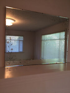 Large Etched Vintage Wall Mirror