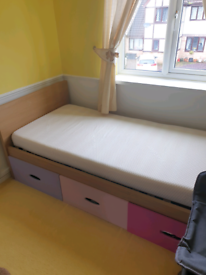 Ikea Single Divan Bed With 3 Drawer Storage.