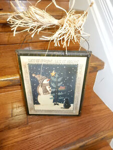 """Christmas """"Let it Snow"""" Solid Wood Plaque / Hanger"""