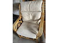 Lovely wicker conservatory chair very comfortable washable covers