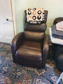Leather riser recliner armchair