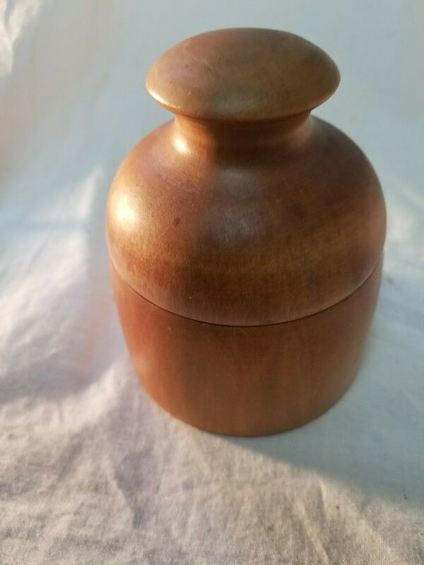 Vintage mid century modern Wooden Round Bowl Box with Lid