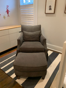 Glider Chair & Ottoman by Sam Moore - Charcoal Grey