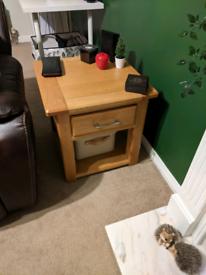 Oak TV unit, side tables, coffee table