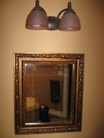 Bathroom light fixtures and mirrors