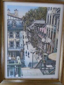 reproduction signée toile Vieux  Québec Jean-Philippe Vogel