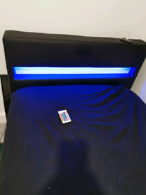 Harmen single leather bed in black with LED