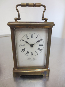 """Drew and Sons """"antique timepiece"""" carriage clock"""
