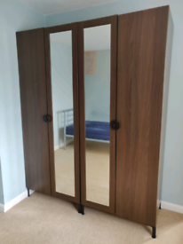 Two Dark Brown Finish Mirrored Wardrobes