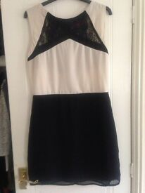 Boohoo size 12 cream and black lace dress.