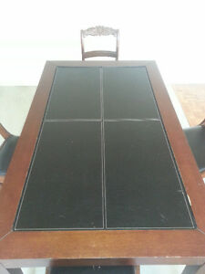 Leather In-Lay Table w 4 Chairs