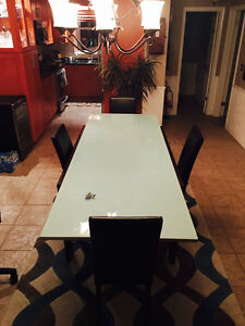 Calligaris Italian Table and Leather Chairs For Sale