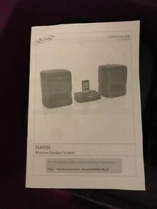 Ilive wireless speaker with ipod docking model # IS809B- new