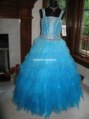 Tiffany 13317 Blue Ombre Little Girls Pageant Gown Dress sz 6 - Girls Tiffany Blue Dress