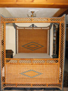 Vintage Rattan Bamboo  canopy bed frame