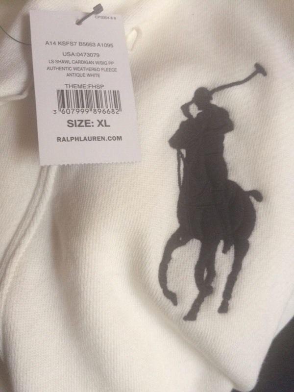 Brand New Genuine Ralph Lauren Polo RARE Limited CREAM WHITE USA Unique Shawl Neck Cardigan 100sales