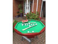 Bumper pool (Billiards) table including cues & pool balls.