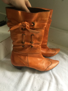 Ladies Orange Leather Boots - from Spain