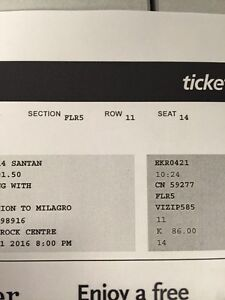 Santana ticket for sale. Show is at KRock centre Thursday PM