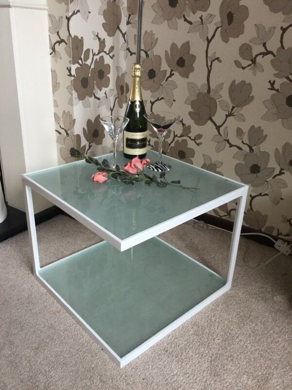 2 TIER FROSTED GLASS COFFEE TABLE NEW AND BOXED