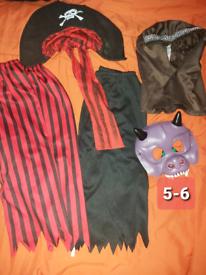 Boys pirates bundle dress up Halloween costume hats mask trousers