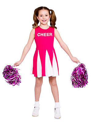 Girls Cheerleader Costume Hot Pink Child Fancy Dress Kids High School Outfit - Hot Cheerleader Kostüm