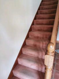 Terracotta stairs and landing carpet