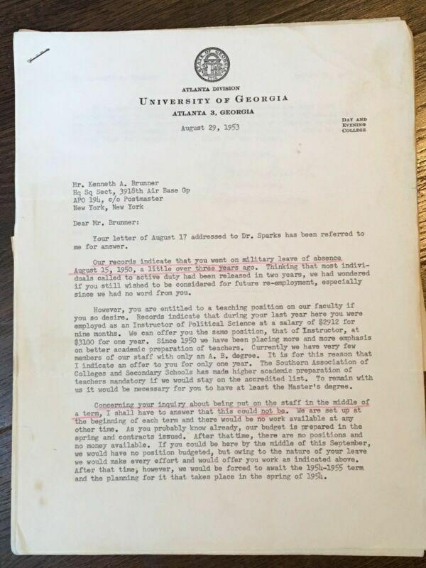 Vtg 1953 University of Georgia Letters w/ Signature of J C Horton Burch - Dean
