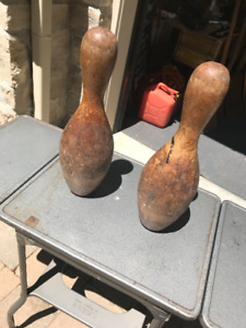 TWO  SOLID WOOD LARGE BOWLING PINS LATE 1800s TO EARLY 1900s