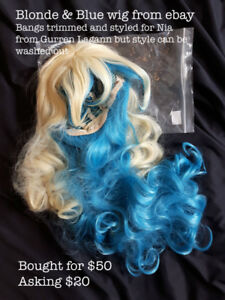 Blonde and Blue Long Cosplay Wig
