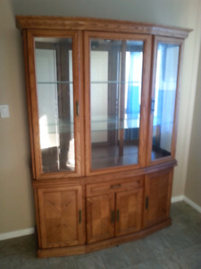 2 piece solid wood quality constructed dining hutch EUC