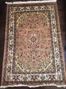 Handme Area Rug Design Isfahan Wool and Silk 4 x 6 ft