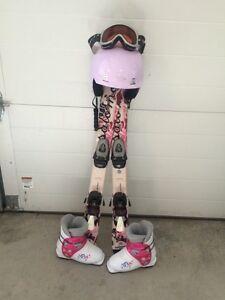 Kids ski's, boots, helmet and goggles