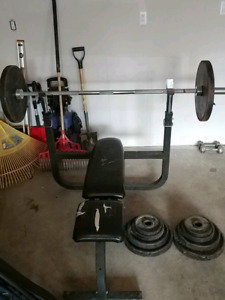 Full weights system and workout bench with bar.