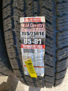 2 radial xrt wild country tires 265/75r16