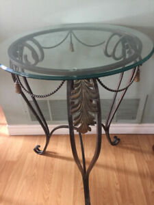 Designer Glass Top Side Tables (2 Avail)Unique with lots of det