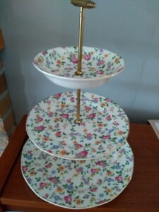 Antique 3 tiered cake serving tray