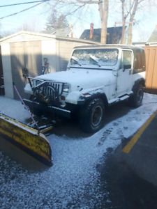 1990 Jeep Y J with Plow