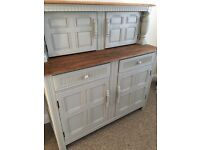 Shabby chic dresser/sideboard/cocktail cabinet farrow and ball grey oak top