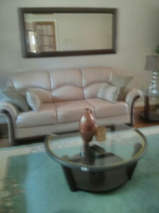 3 Pcs Leather Sofa Set w/Coffee & Side Tables and Mirror $1,000