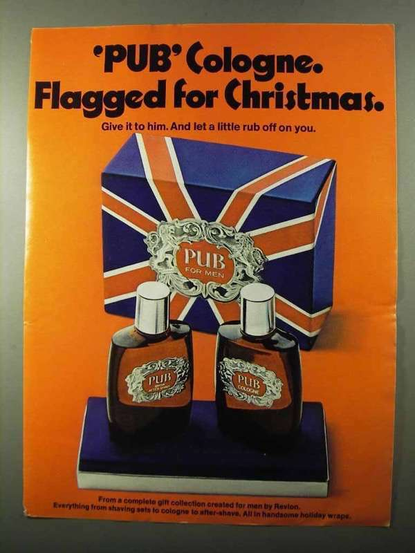 1971 Pub Cologne Ad - Flagged for Christmas