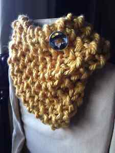 Trendy hand knit cowl with button Sarnia Sarnia Area image 2